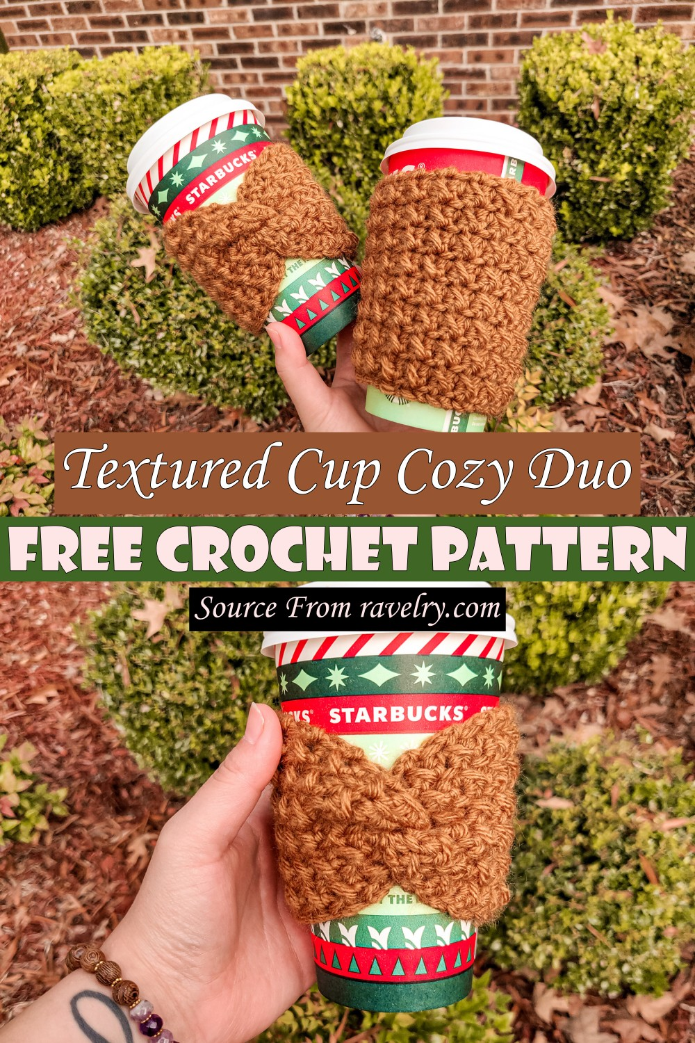 Free Crochet Textured Cup Cozy Duo Pattern