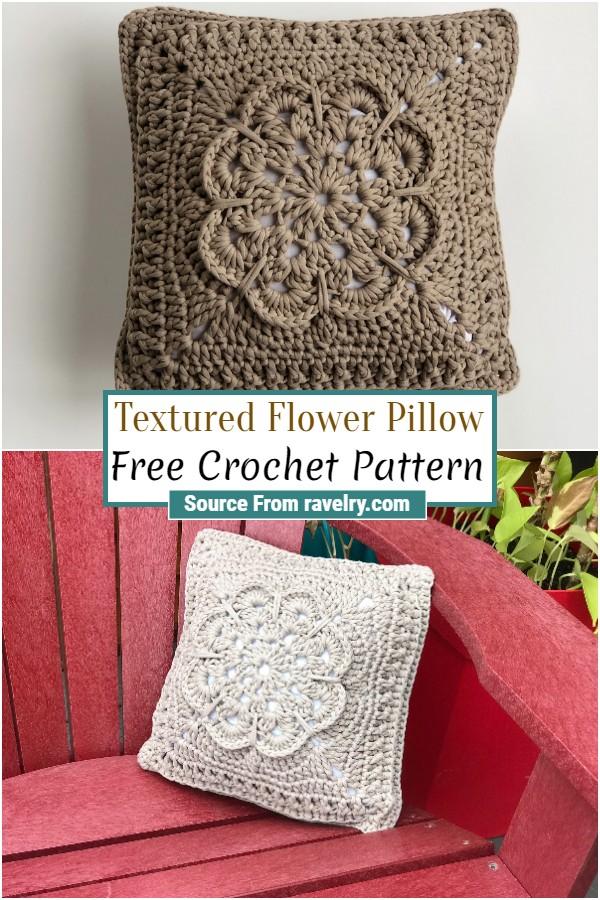 Free Crochet Textured Flower Pillow