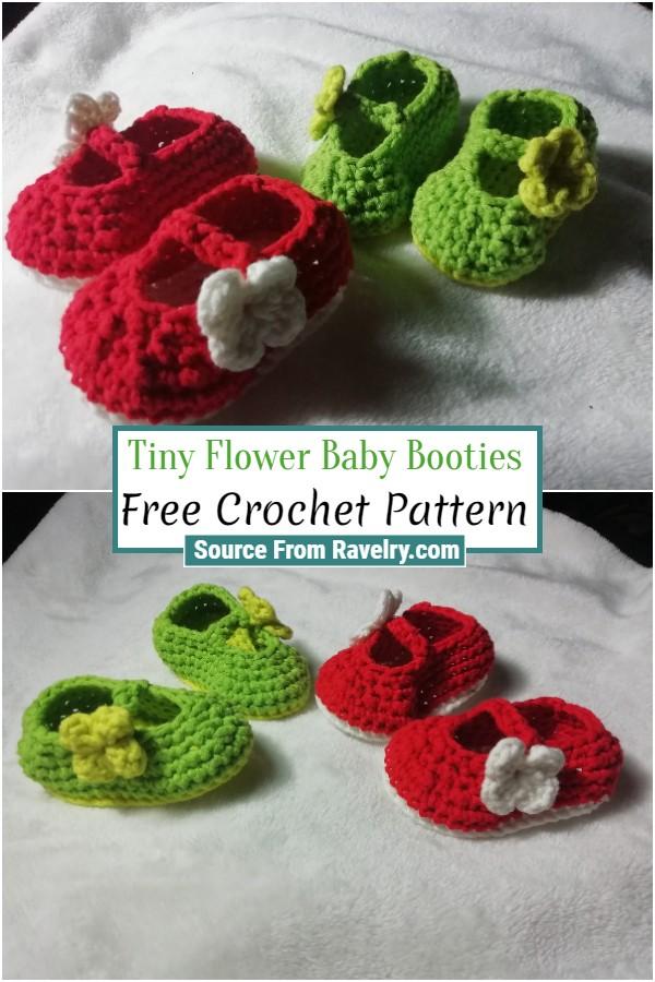 Free Crochet Tiny Flower Baby Booties