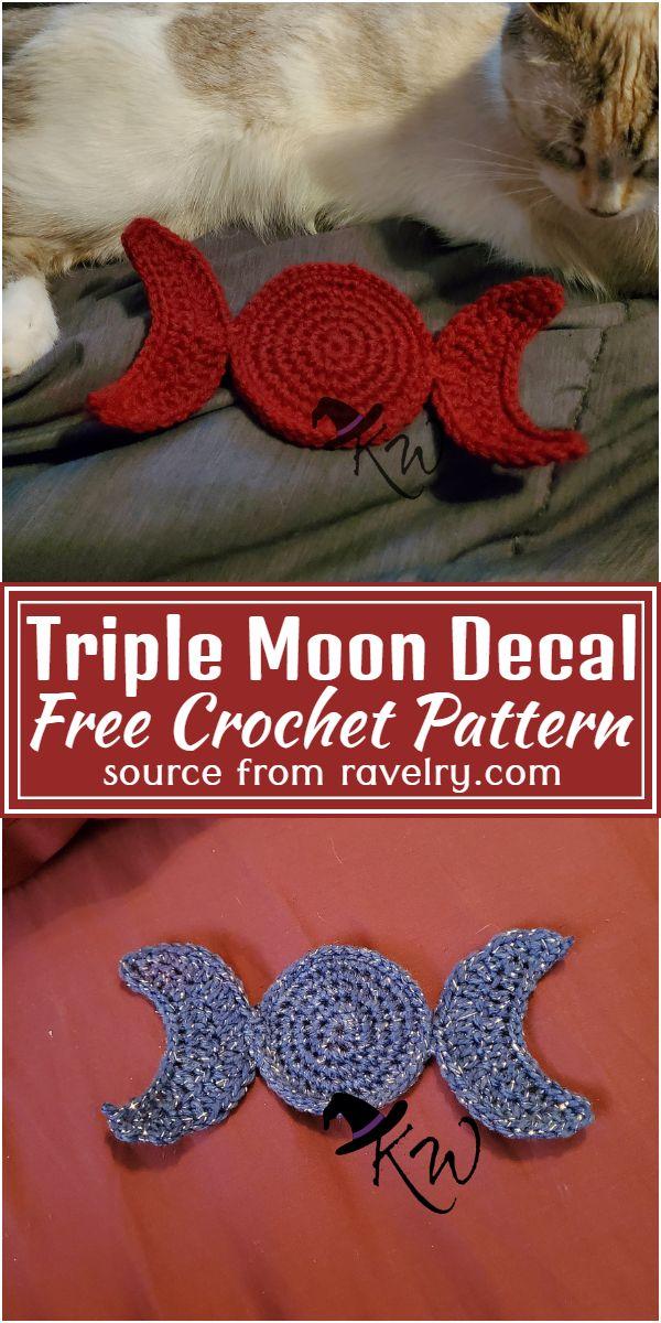 Free Crochet Triple Moon Decal Pattern