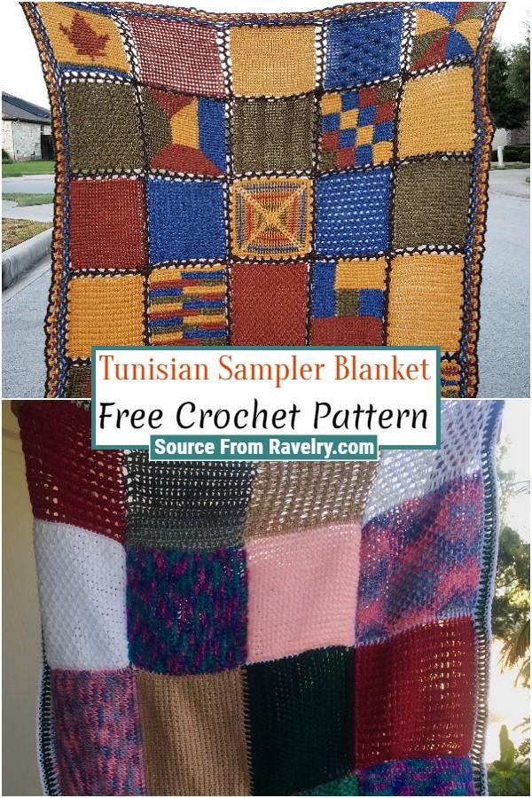 Free Crochet Tunisian Sampler Blanket