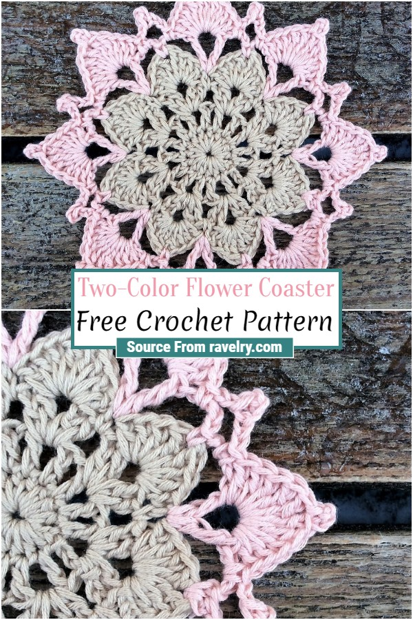 Free Crochet Two-Color Flower Coaster