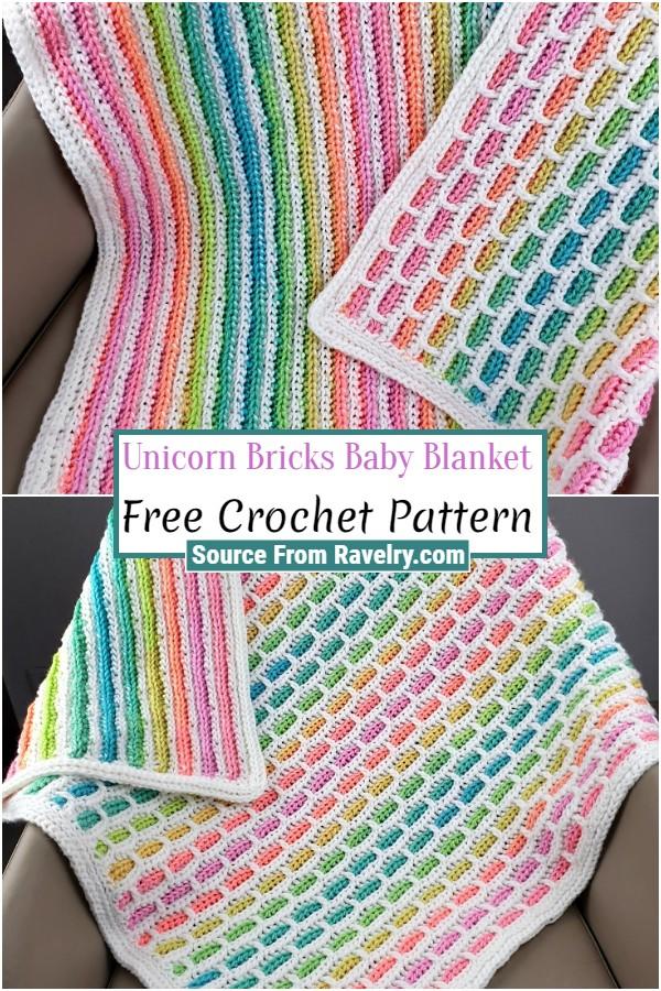 Free Crochet Unicorn Bricks Baby Blanket