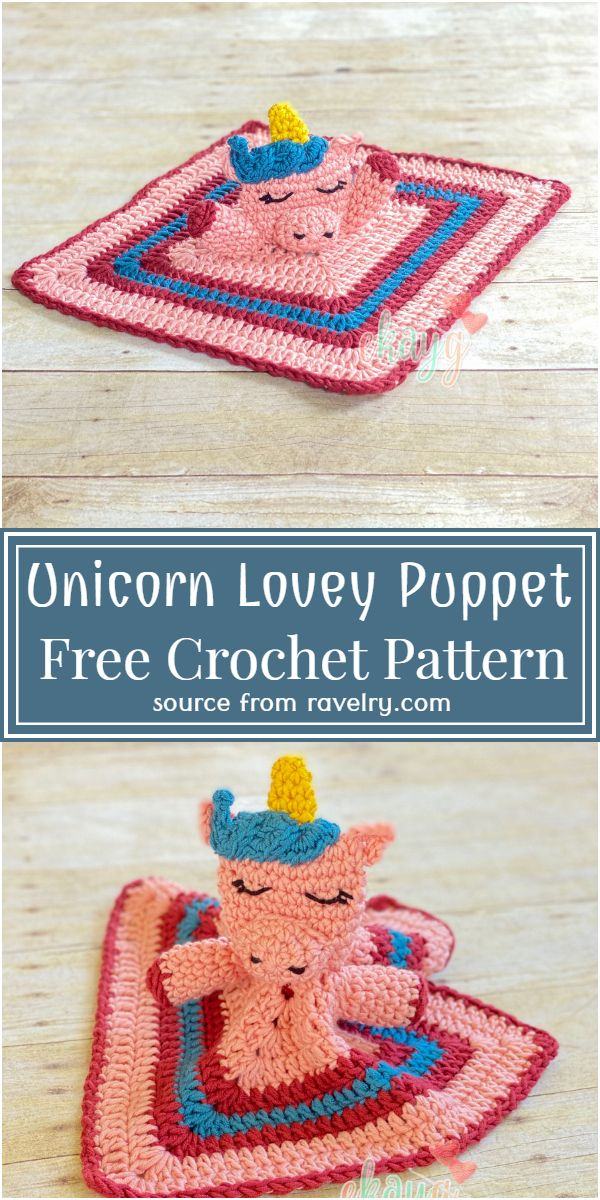 Free Crochet Unicorn Lovey Puppet Pattern