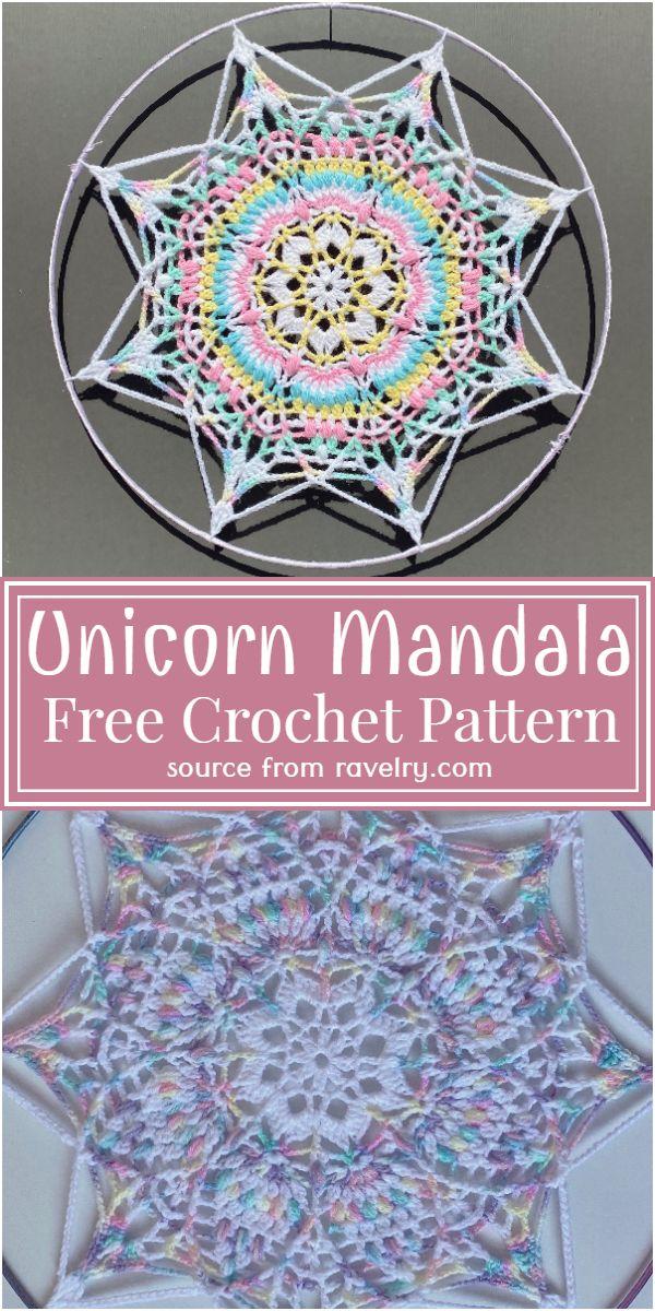 Free Crochet Unicorn Mandala Pattern