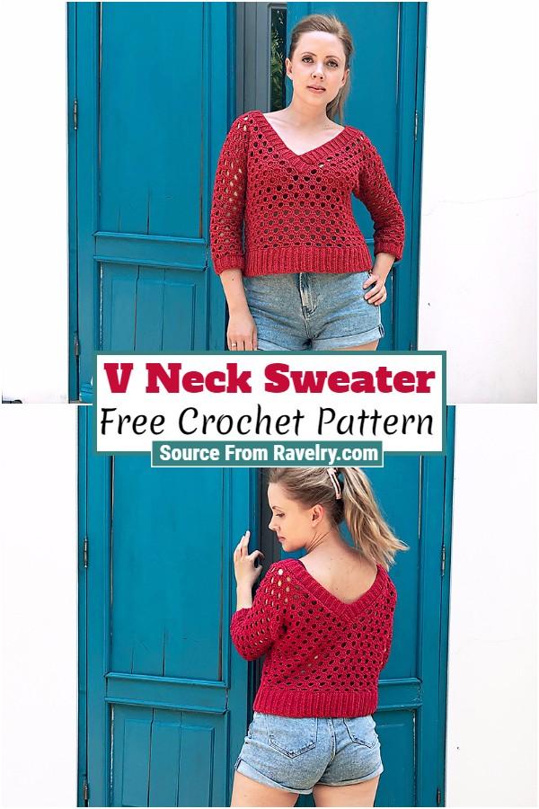 Free Crochet V Neck Sweater