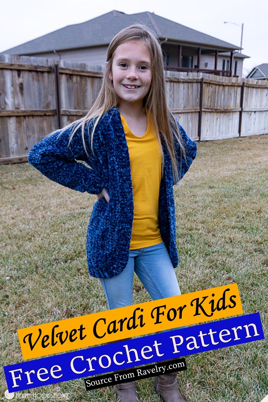 Free Crochet Velvet Cardi For Kids Pattern