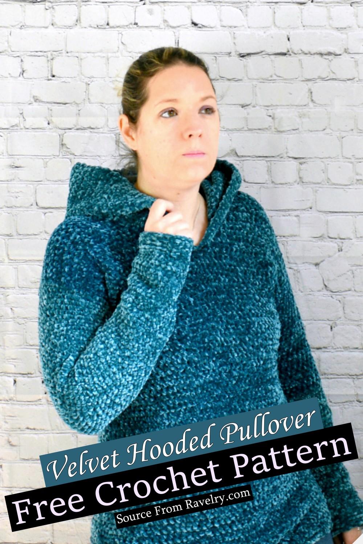 Free Crochet Velvet Hooded Pullover Pattern