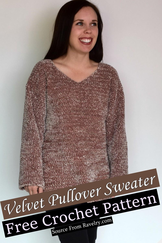 Free Crochet Velvet Pullover Sweater Pattern