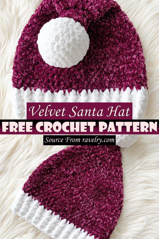 Free Crochet Velvet Santa Hat Pattern