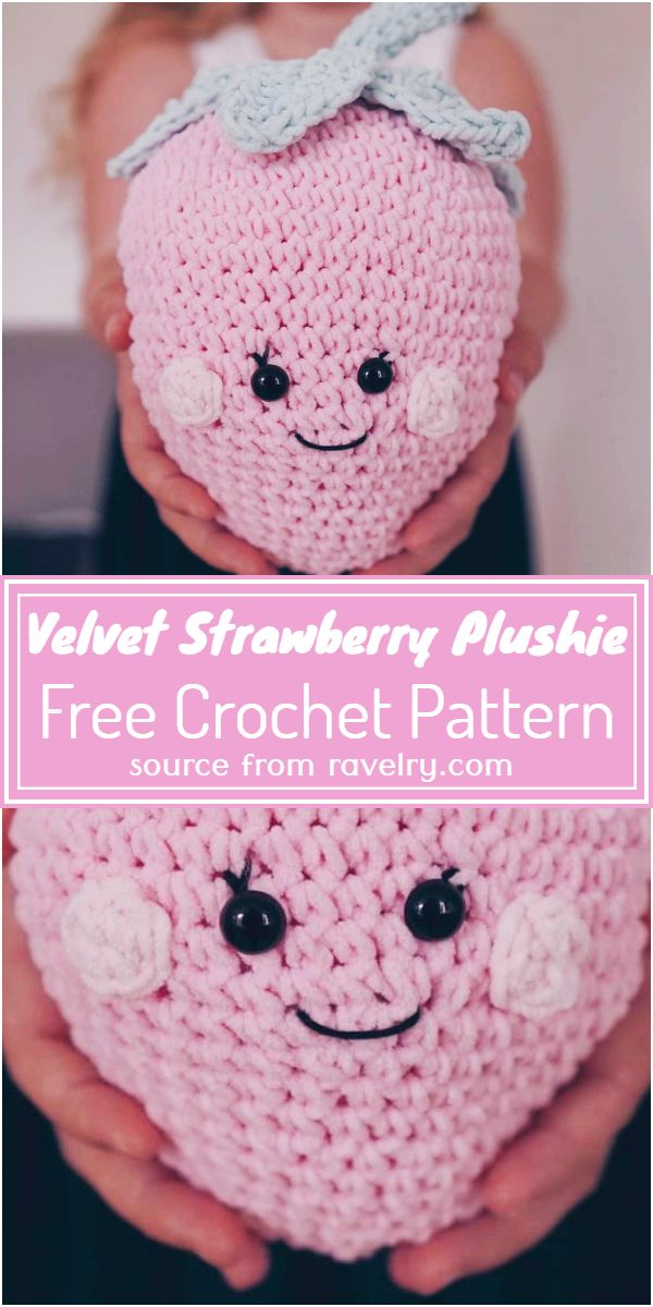 Free Crochet Velvet Strawberry Plushie Pattern