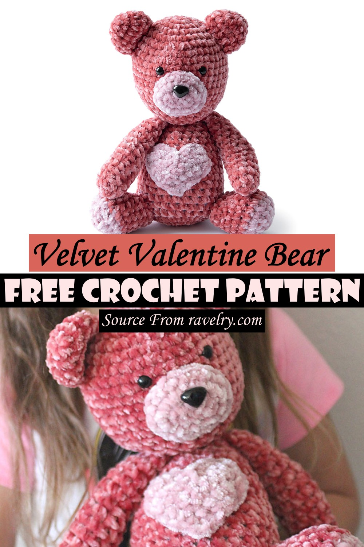 Free Crochet Velvet Valentine Bear Pattern