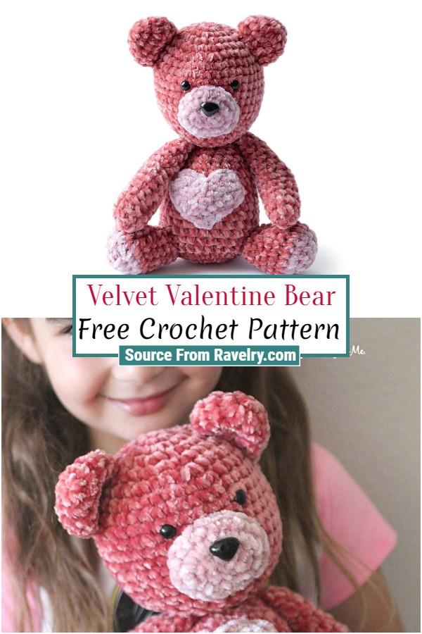 Free Crochet Velvet Valentine Bear