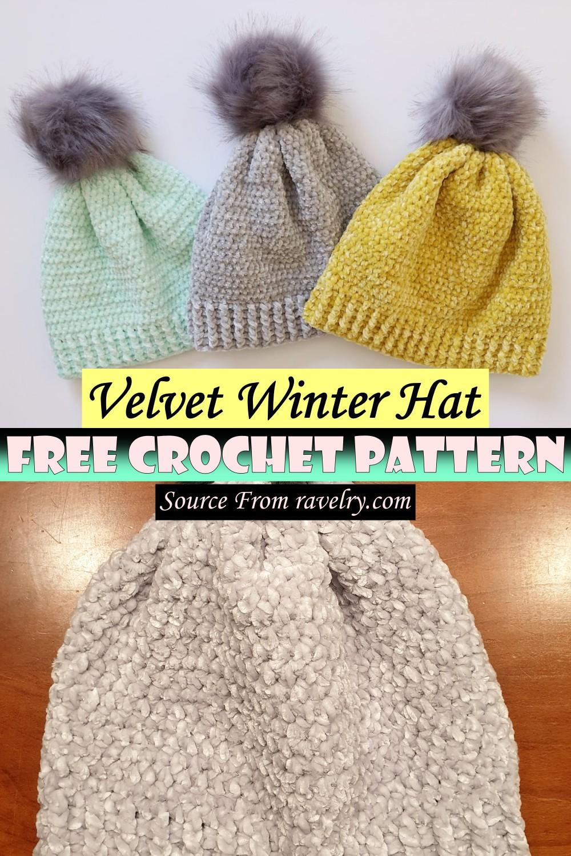 Free Crochet Velvet Winter Hat Pattern