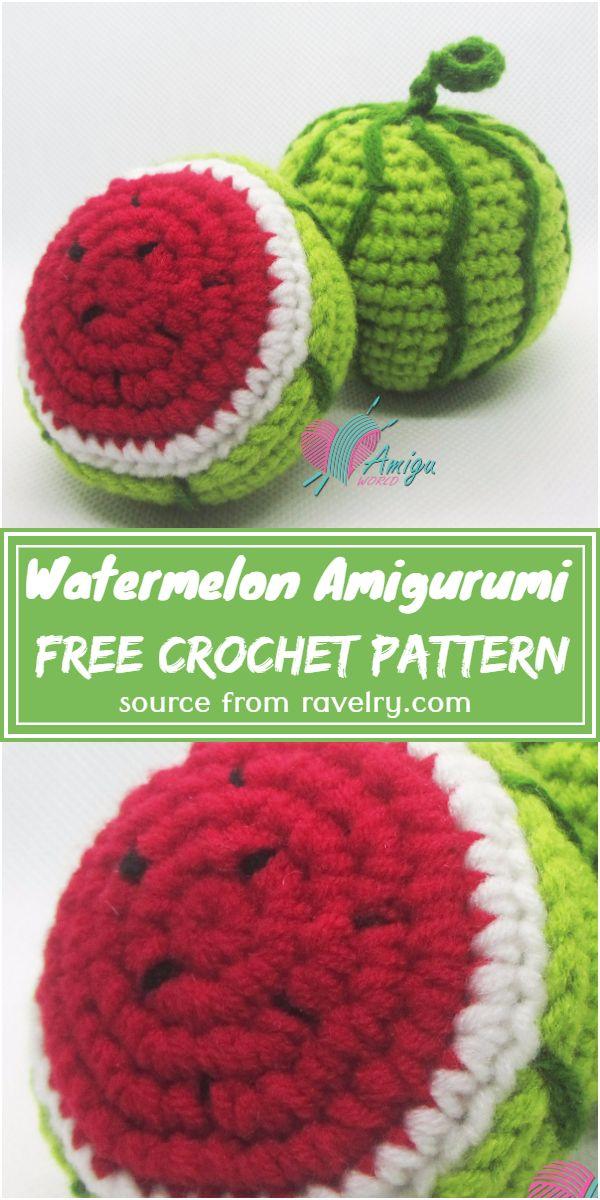 Free Crochet Watermelon Amigurumi Pattern