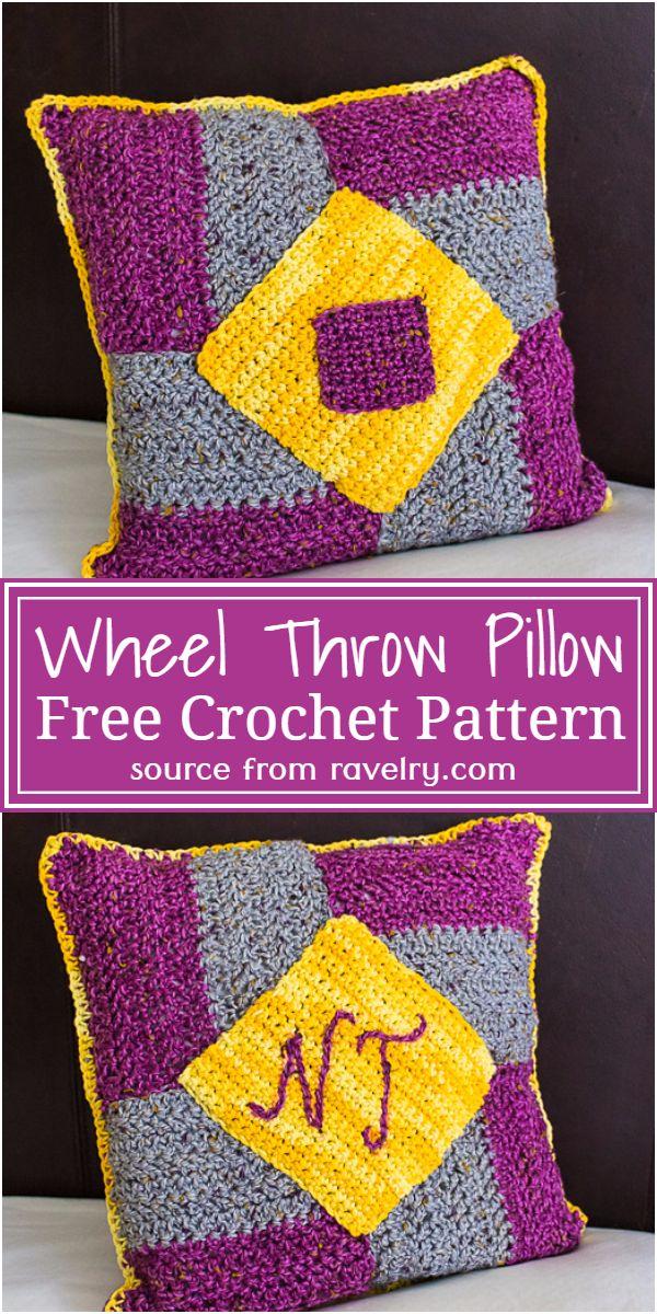 Free Crochet Wheel Throw Pillow Pattern