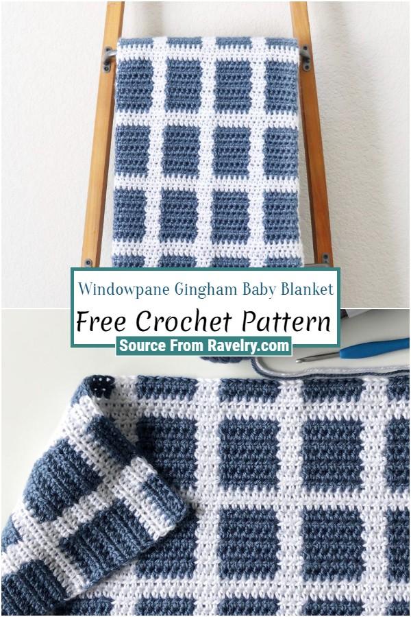 Free Crochet Windowpane Gingham Baby Blanket