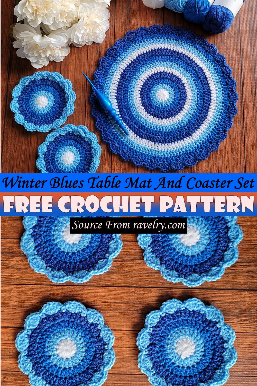 Free Crochet Winter Blues Table Mat And Coaster Set Pattern