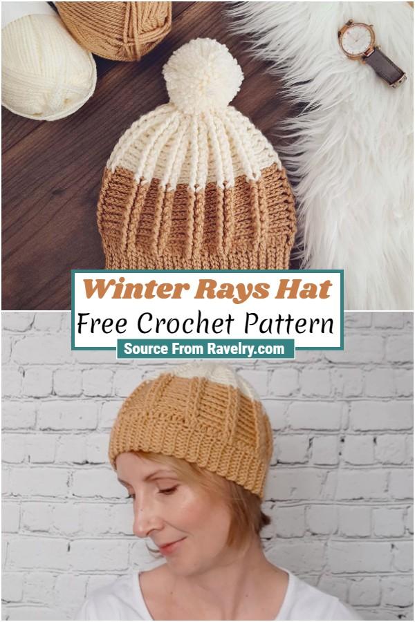 Free Crochet Winter Rays Hat