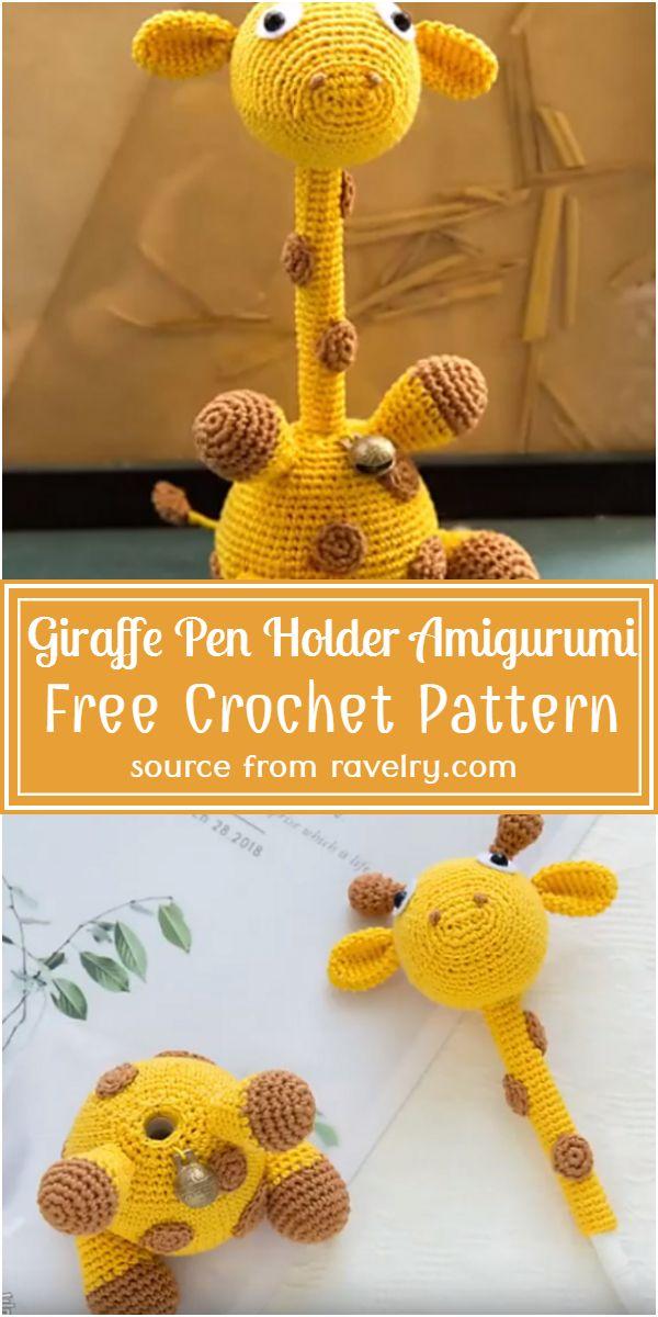 Giraffe Crochet Pen Holder Amigurumi Free Pattern