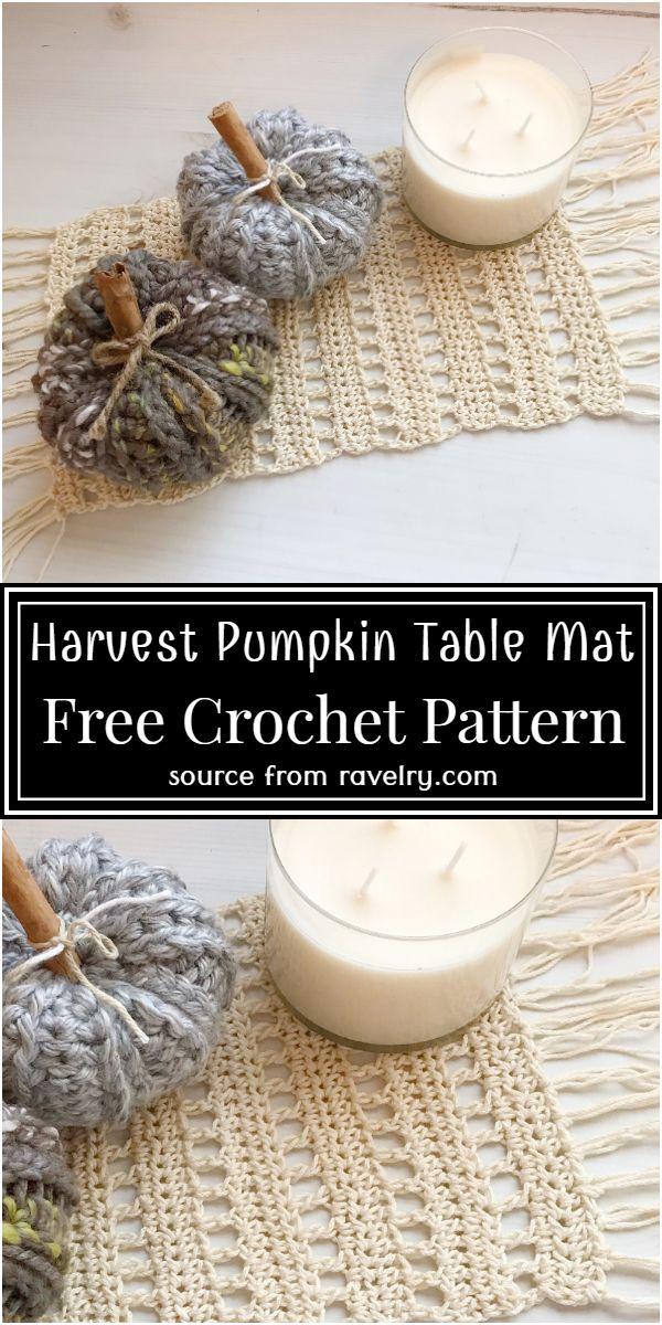 Harvest Pumpkin Table Mat Crochet Pattern