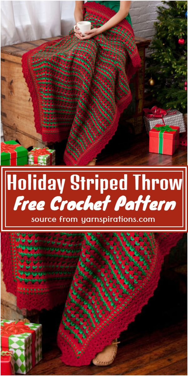 Holiday Striped Crochet Throw Pattern