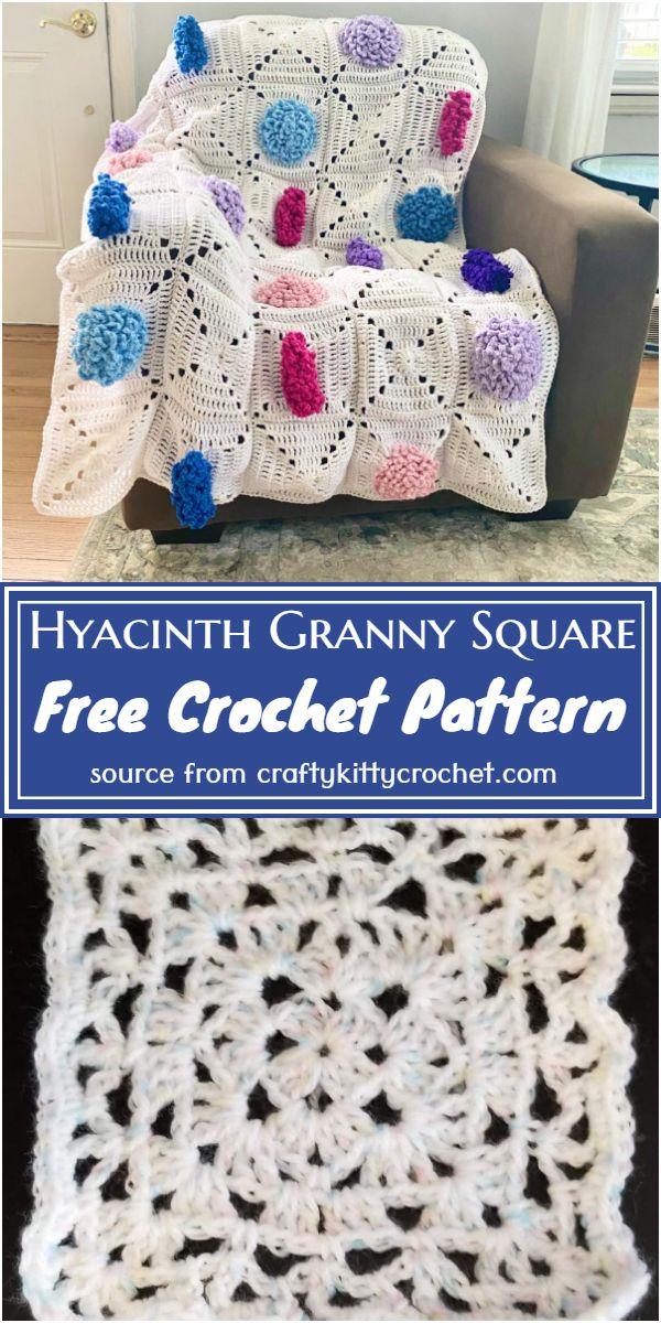 Hyacinth Granny Square Crochet Pattern