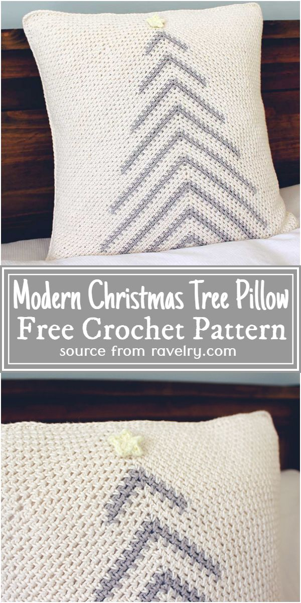 Modern Christmas Tree Pillow Crochet Pattern
