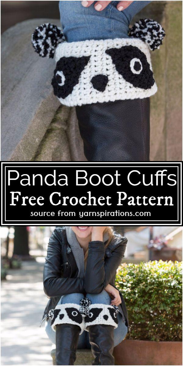 Panda Boot Cuffs Crochet Pattern