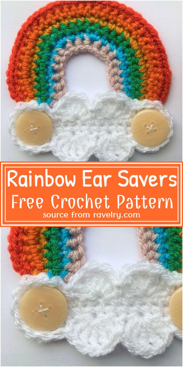 Rainbow Ear Savers Crochet Pattern