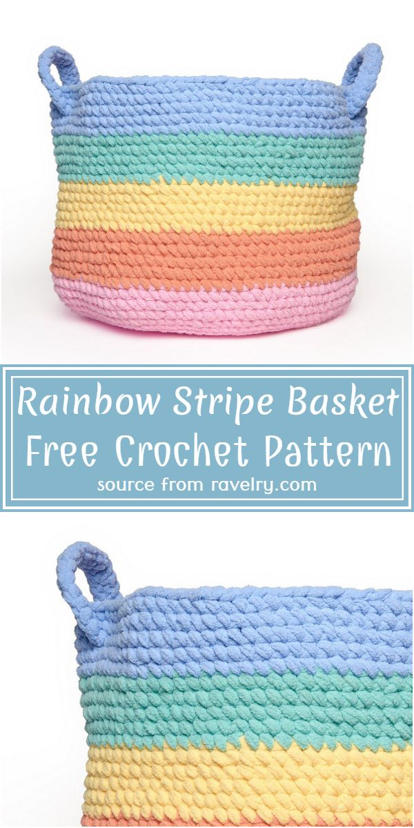 Rainbow Stripe Basket Crochet Pattern