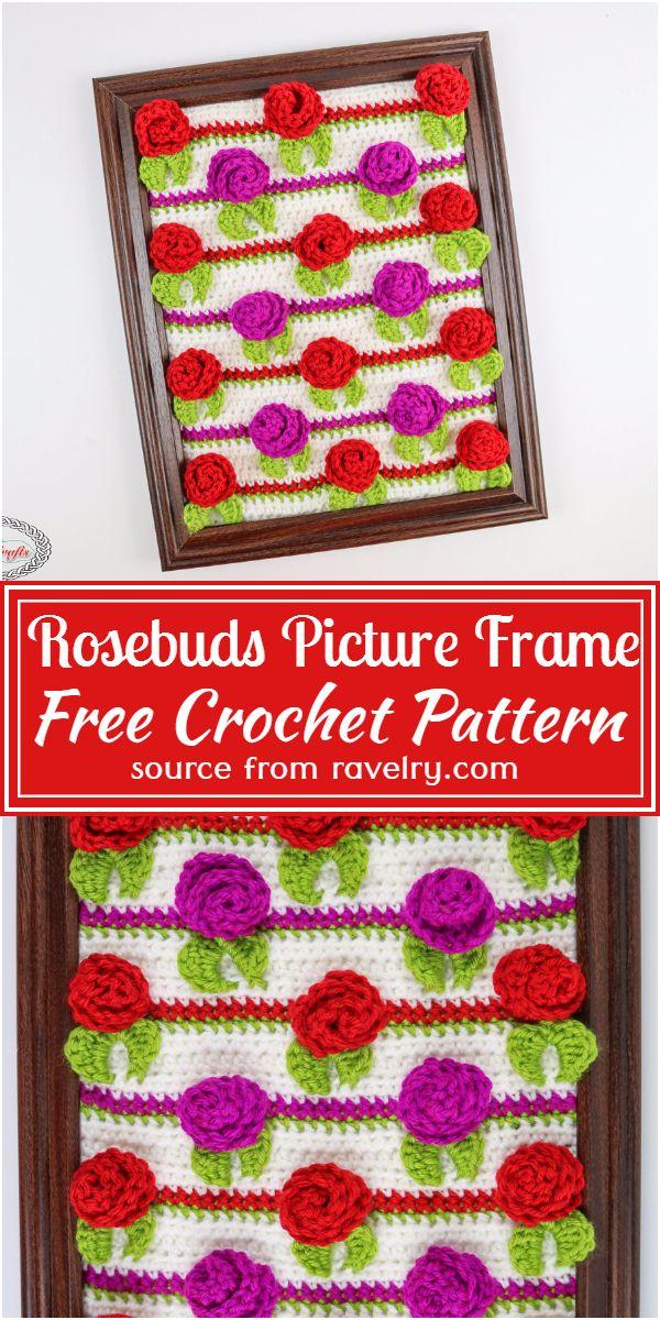 Rosebuds Crochet Picture Frame Free Pattern