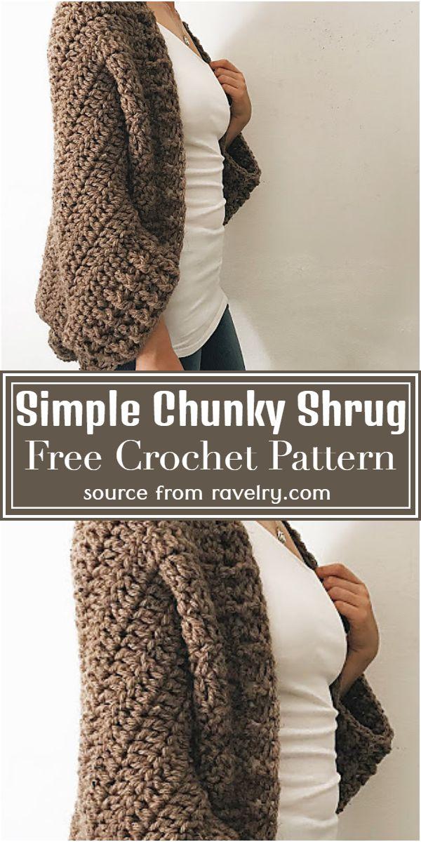 Simple Chunky Shrug Crochet Pattern