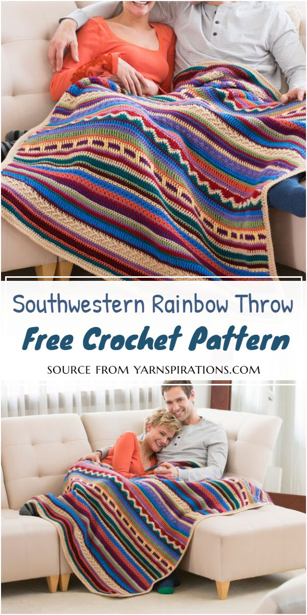 Southwestern Rainbow Throw Crochet Pattern
