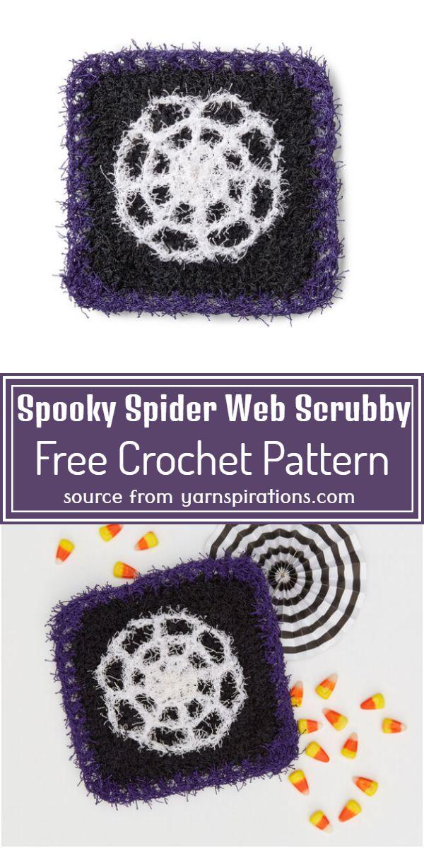 Spooky Crochet Spider Web Scrubby Free Pattern