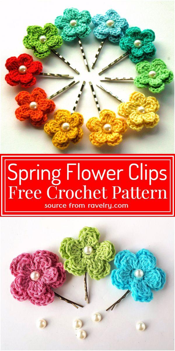 Spring Flower Clips Crochet Pattern