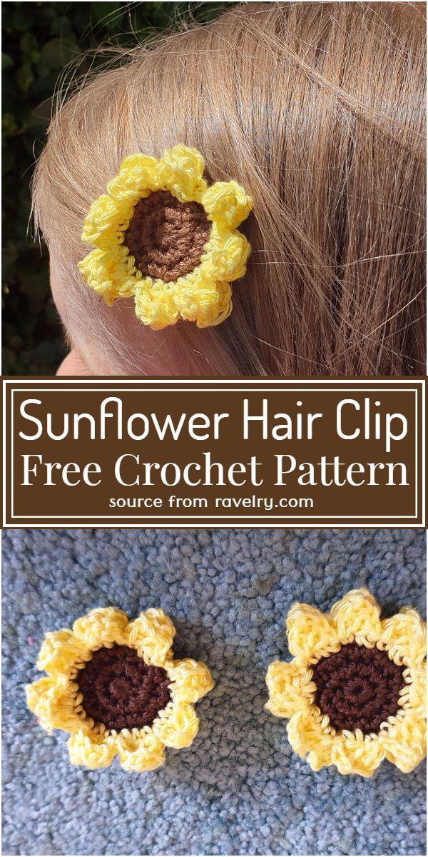 Sunflower Hair Clip Crochet Pattern