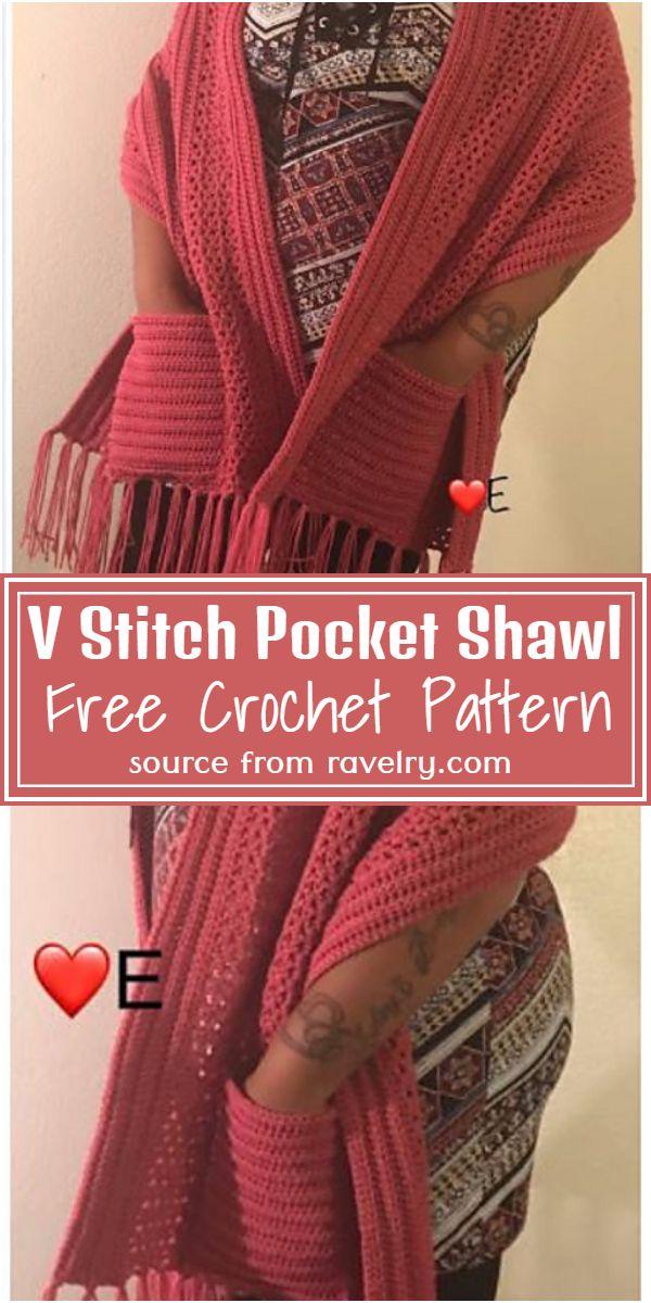 V Stitch Crochet Pocket Shawl Pattern