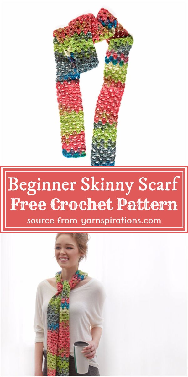 colorful Skinny Scarf Pattern