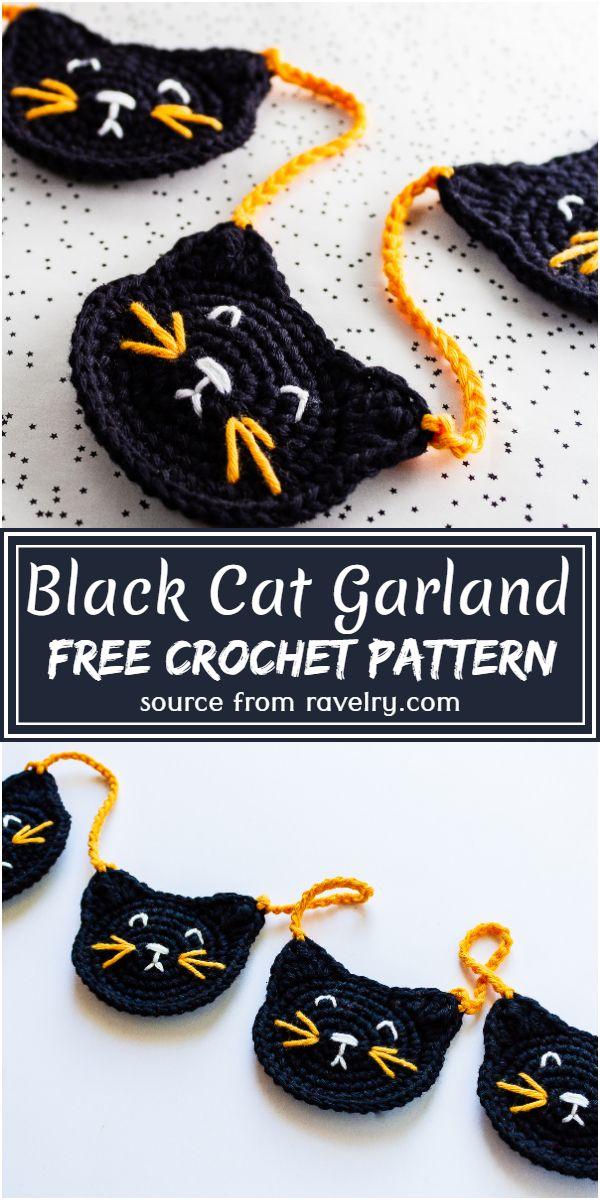 Black Cat Garland Crochet Pattern