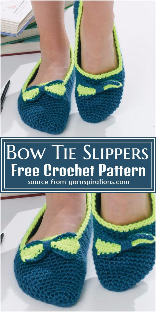 Bow Tie Slippers Crochet Pattern