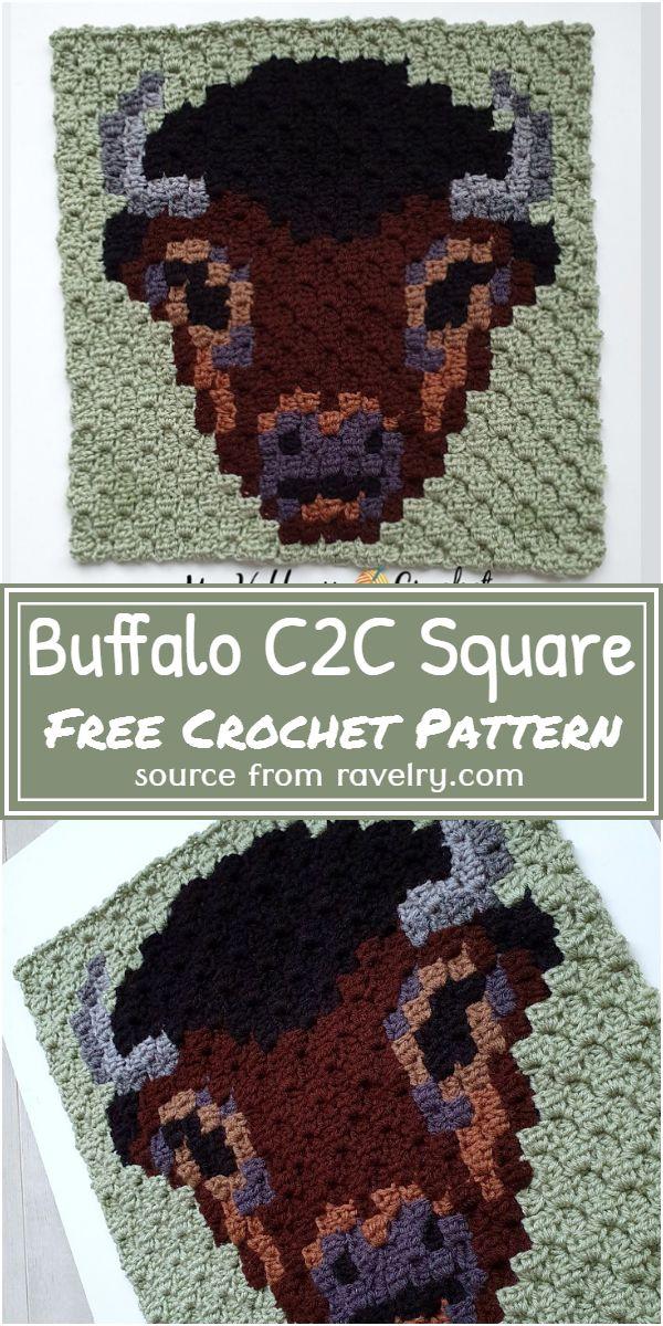 Buffalo C2C Square Crochet Pattern