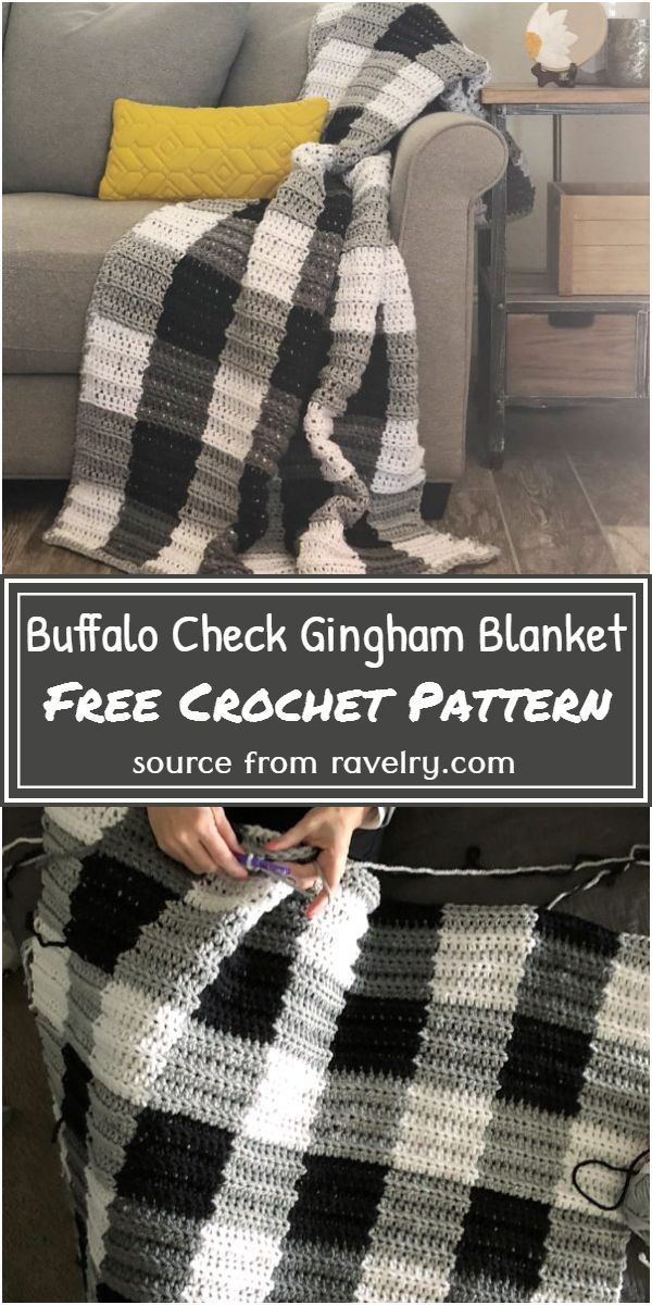 Buffalo Check Gingham Blanket Crochet Pattern