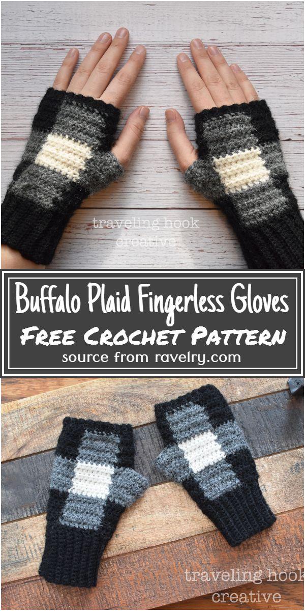 Buffalo Plaid Fingerless Gloves Crochet Pattern