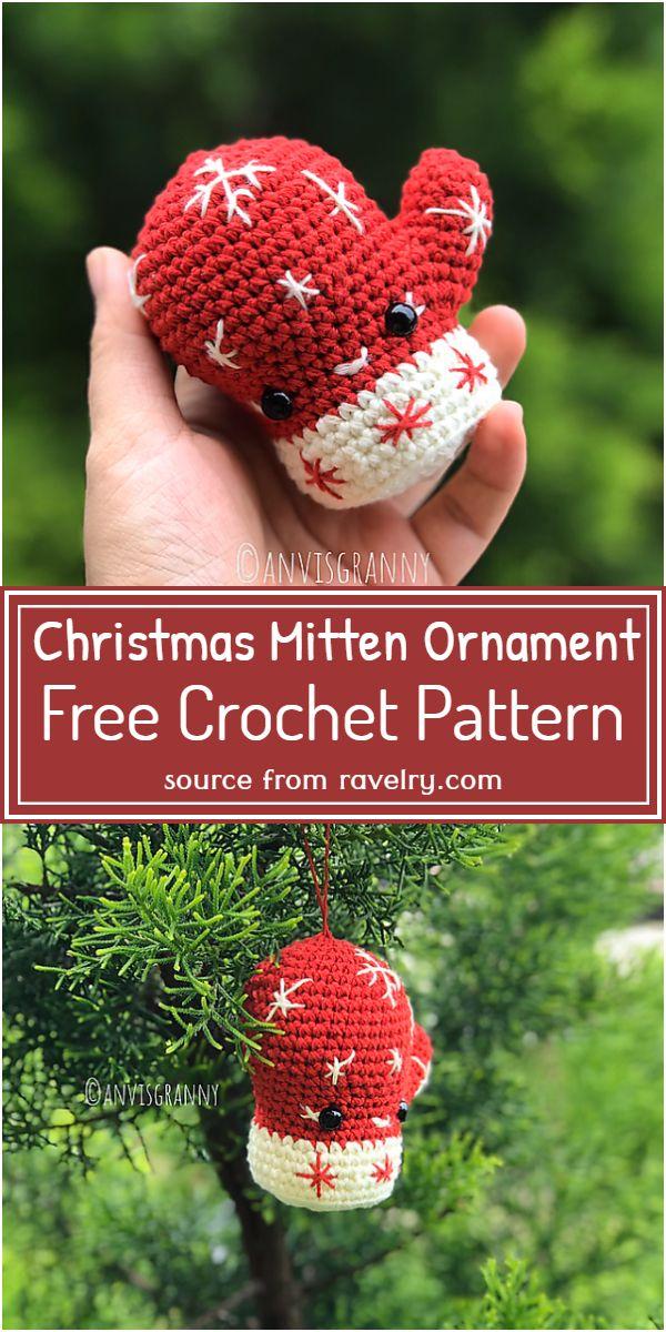Christmas Mitten Ornament Crochet Pattern