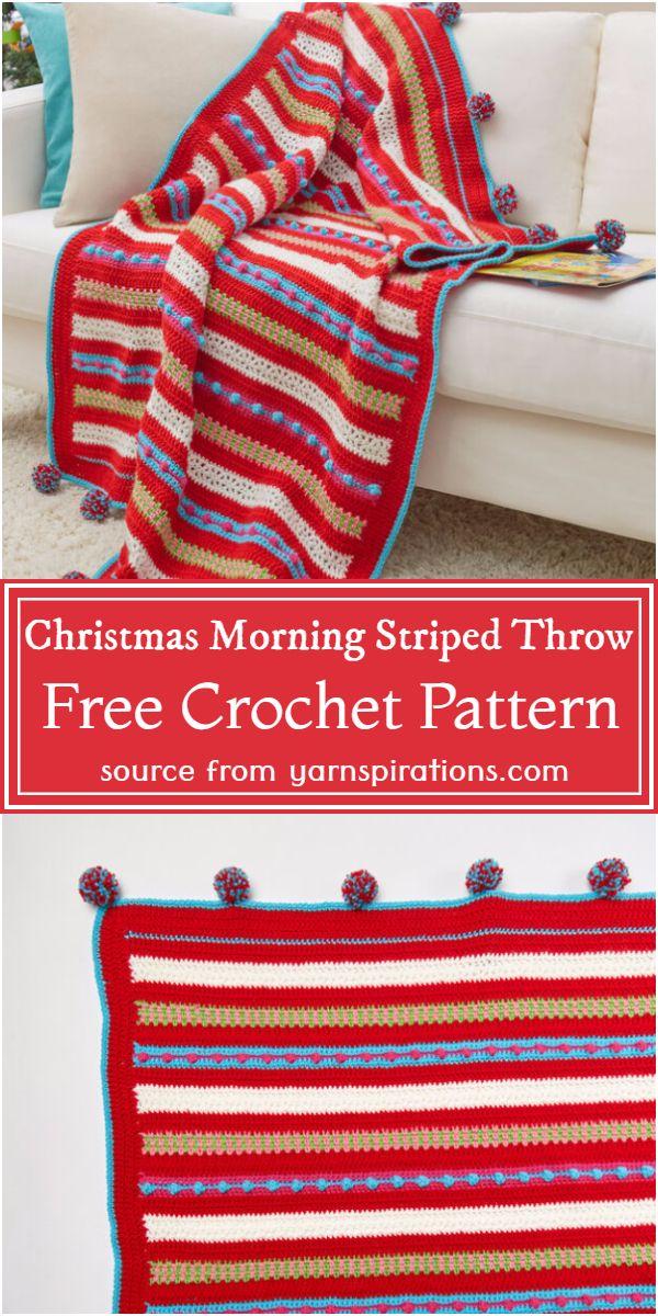 Christmas Morning Striped Throw Crochet Pattern