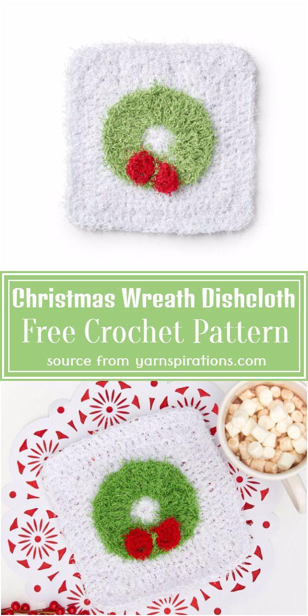 Christmas Wreath Dishcloth Crochet Pattern