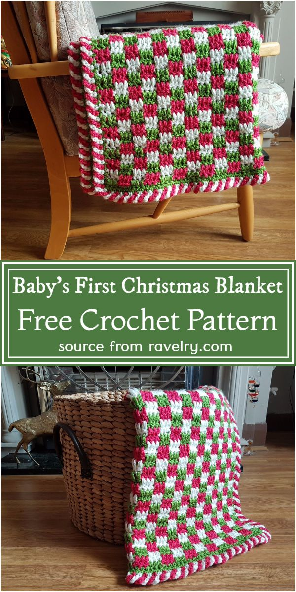 Crochet Baby's First Christmas Blanket Free Pattern
