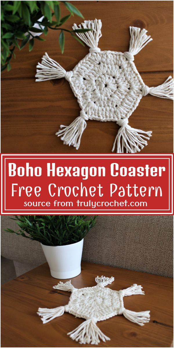 Crochet Boho Hexagon Coaster Free Pattern