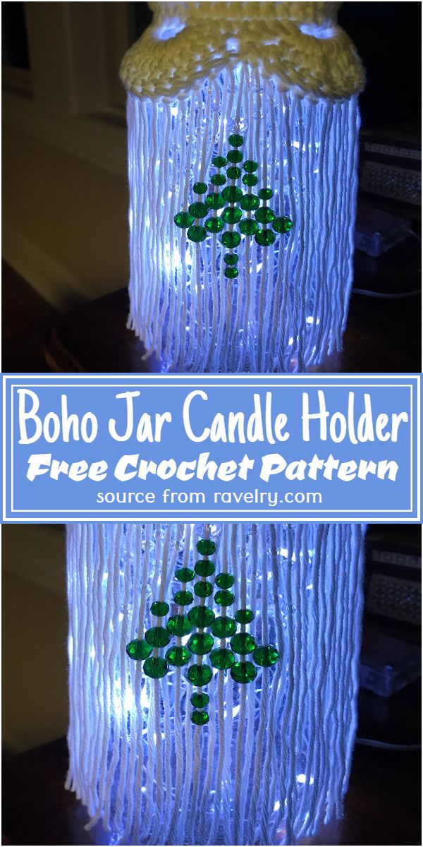 Crochet Boho Jar Candle Holder Pattern